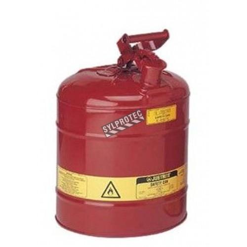 Bidon d'acier pour liquides inflammables, type 1, 5 gallons, approuvé FM, UL, OHSA.