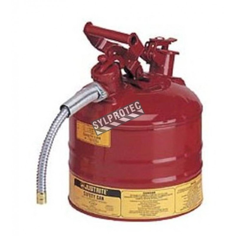 Steel flammable liquids container, type 2, 2.5 gallons, approved FM, UL, OHSA.