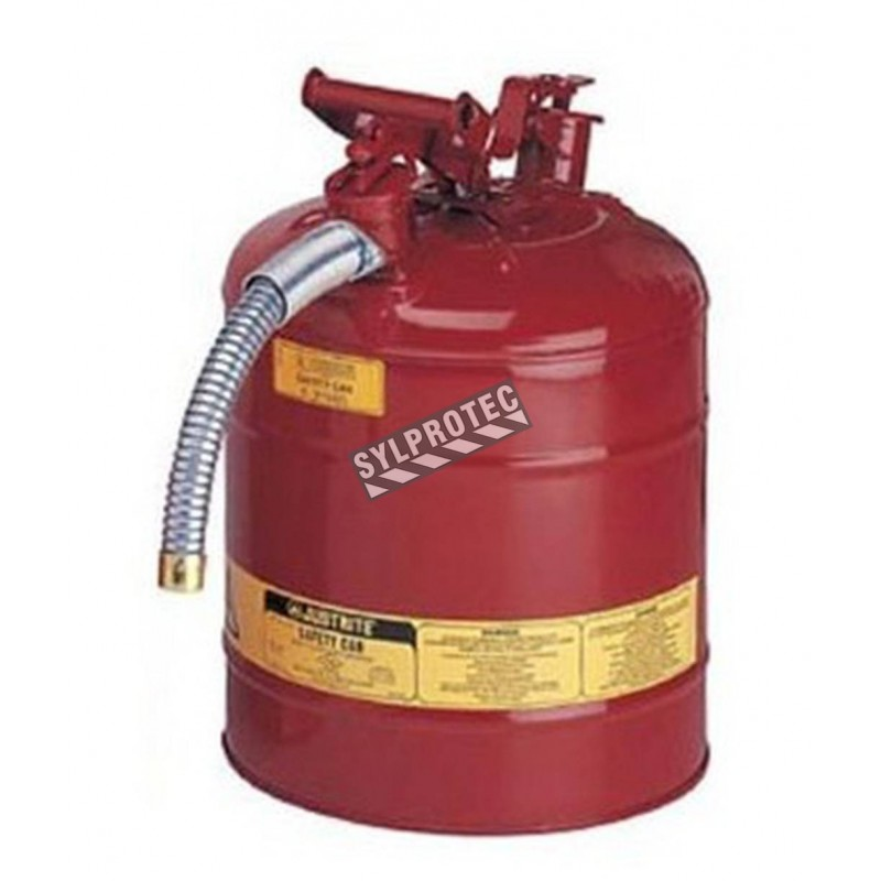 Steel flammable liquids container, type 2, 5 gallons, approved FM, UL, OHSA.
