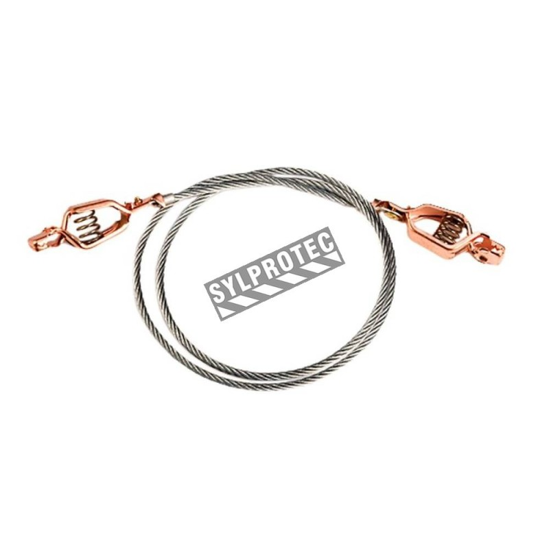 Antistatic flexible wire for bonding or grounding safety cabinets, with two alligator clips.