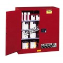 Safety storage cabinet for combustibles. Capacity 40 US gallons (151 L). FM, NFPA, and OSHA compliant.