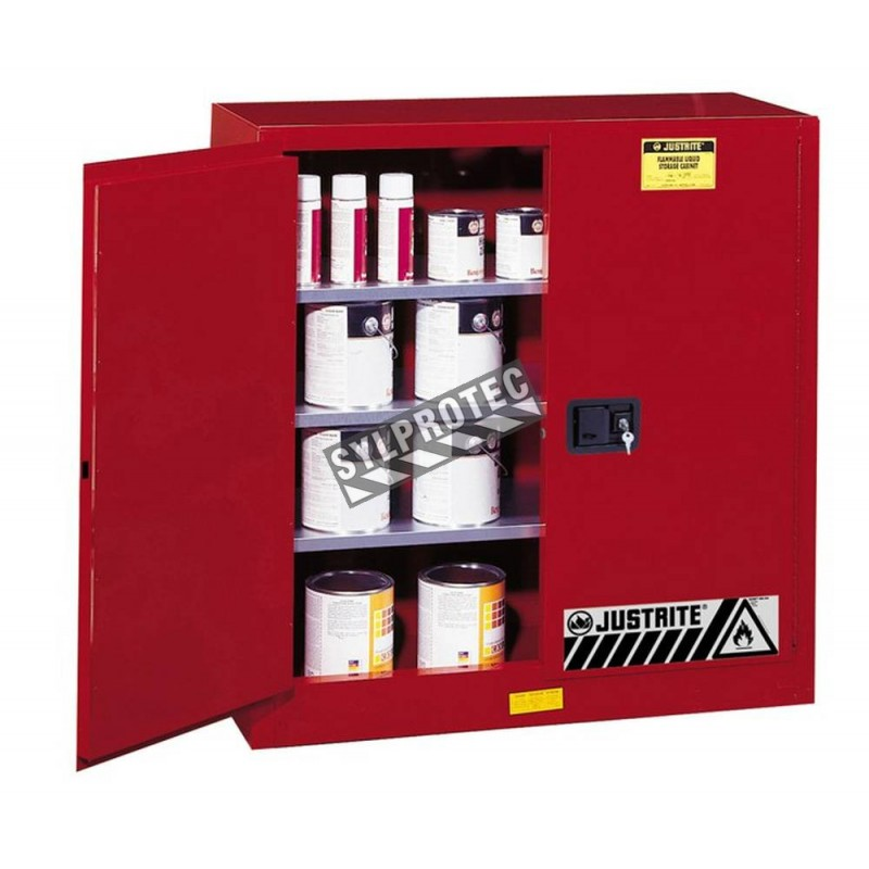 Justrite safety storage cabinet for combustibles (paints, inks), capacity 40 gallons.