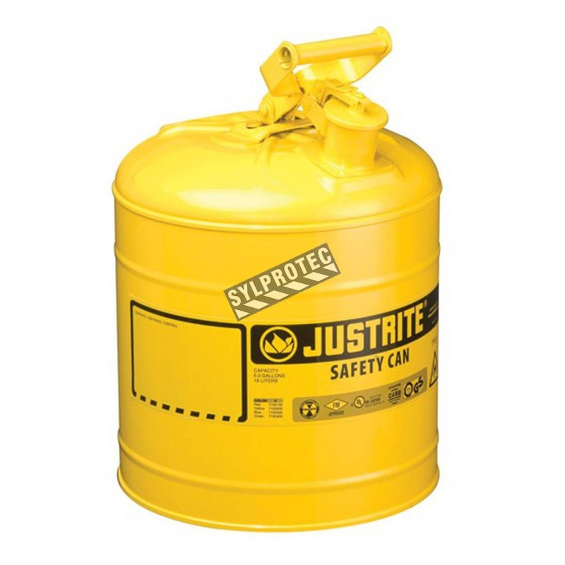 Bidon d'acier jaune pour liquides inflammables, type 1, 5 gallons, approuvé FM, UL, OHSA.