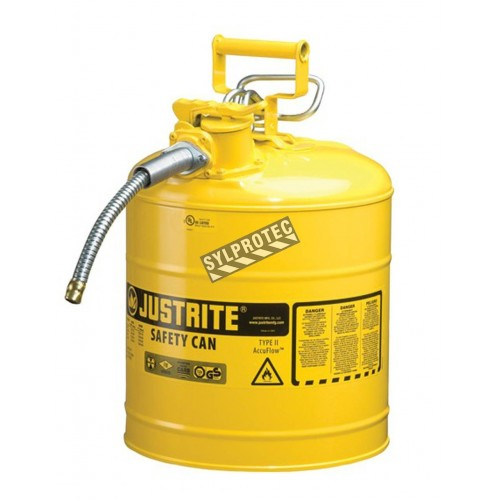 Yellow steel flammable liquids container, type 2, 5 gallons, approved FM, UL, OHSA.