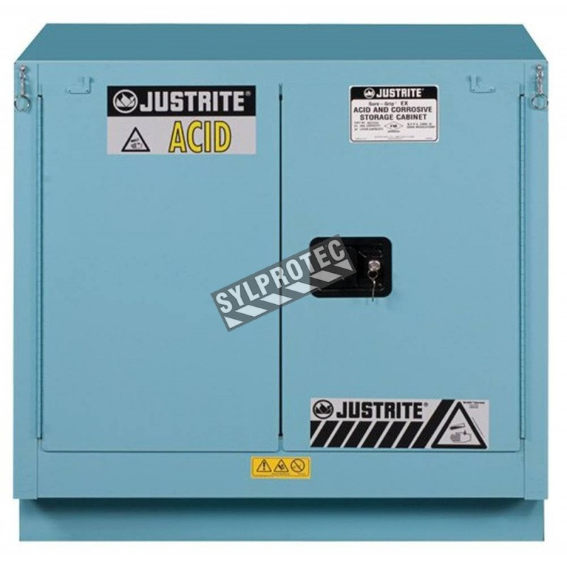Undercounter acid and corrosive liquids storage cabinet. Capacity 22 gallons US (83 L). FM listed.