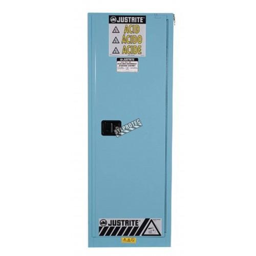 Armoire verticale compacte pour liquides acides et corrosifs. Capacité 22 gallons US (83 L). Approuvée FM.