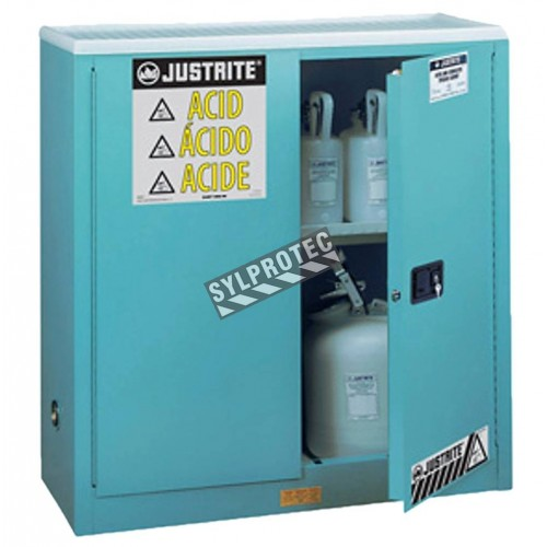 Safety storage cabinet for acids and corrosive liquids. Capacity 30 US gallons (114 L). FM listed, NFPA 30 and OSHA compliant.