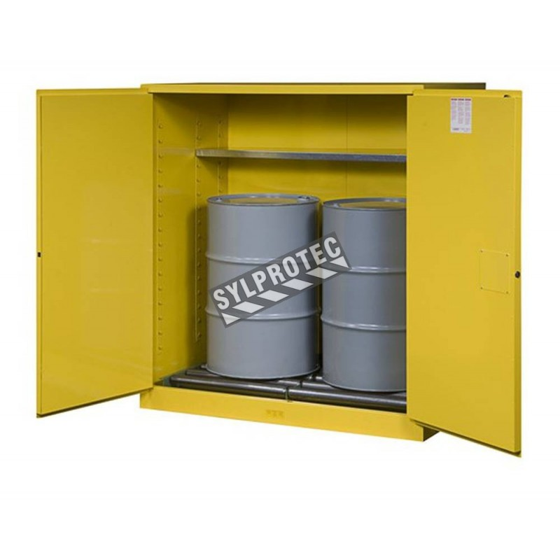Justrite Flammable Liquid Storage Cabinet, Capacity 110 Gallons.