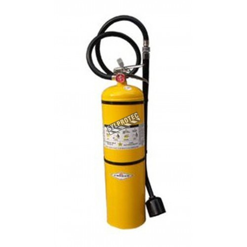 Portable Amerex fire extinguisher with copper extinguishing agent, 30 lbs, type D (lithium fires), with wall hook