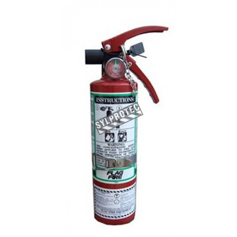Portable fire extinguisher with FE36, 2.5 lbs, type BC, ULC 2BC, with vehicle hook. Ideal for electronics.