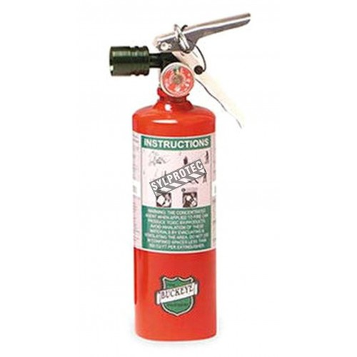 Portable fire extinguisher with Halotron I, 5 lbs, class BC, ULC 5B:C, with vehicle hook.