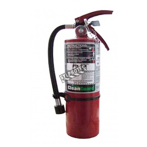 Portable fire extinguisher with FE36, 4.75 lbs, type BC, ULC 5BC, with wall hook. Ideal for electronics.