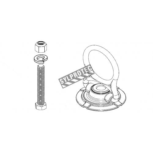 Ancrage 5K Swivel de Miller pour protection antichute sur une surface en acier.  Fait en acier plaqué zinc, pivote à 360°.