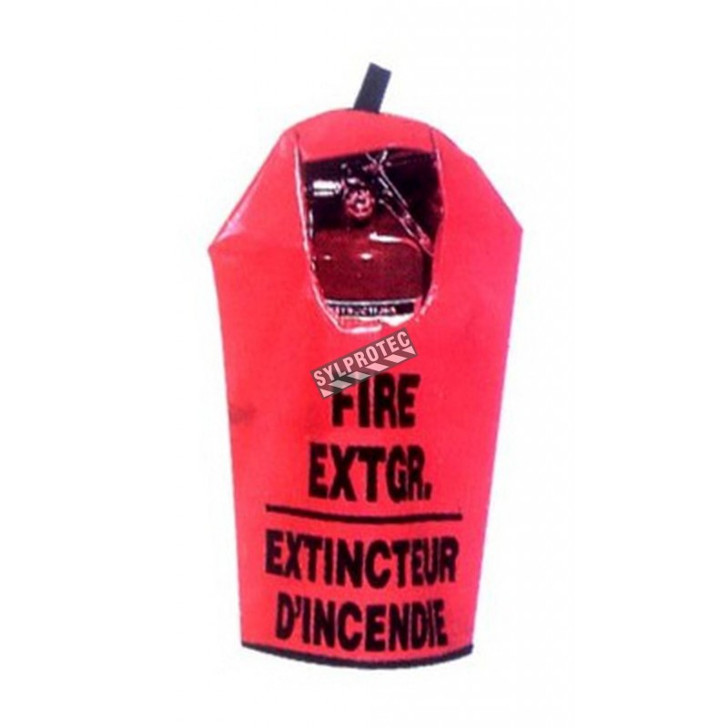 Cover for 20 lbs extinguisher, bilingual, with window