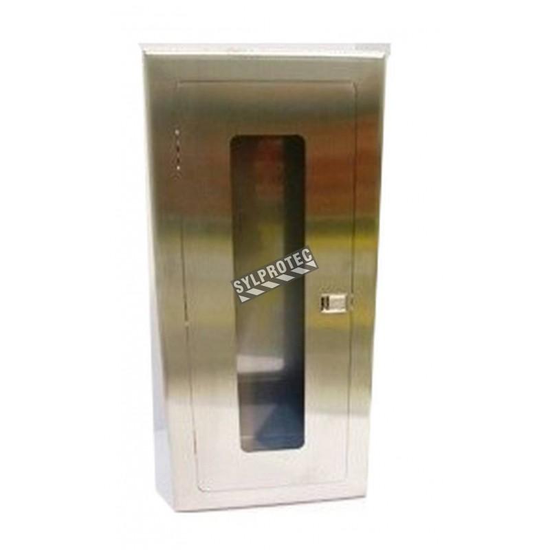 Cabinet semi-encastré en acier inoxydable, pour extincteurs à poudre de 10 lbs. Idéal pour l'industrie alimentaire.