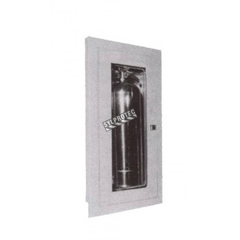 Cabinet semi-encastré pour extincteurs à eau de 2.5 gal, à CO2 de 10 lbs ou à poudre de 20 lbs.