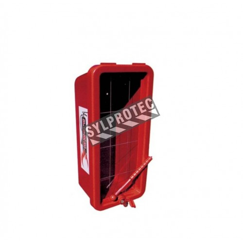 Surface-mounted outdoors plastic cabinet for 5 lbs extinguishers.
