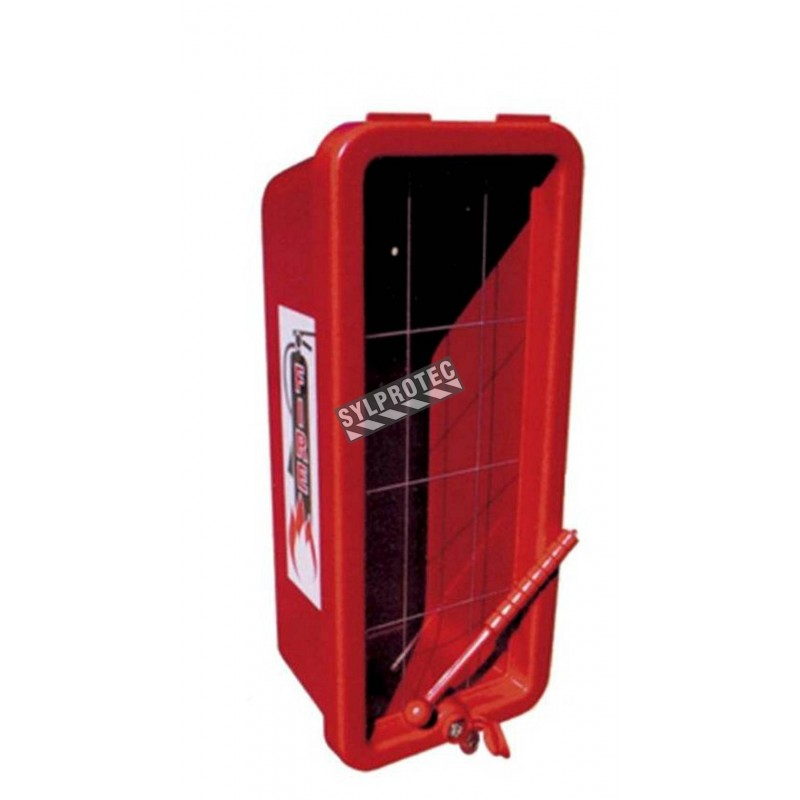 Surface-mounted outdoors plastic cabinet for 10 lbs extinguishers.