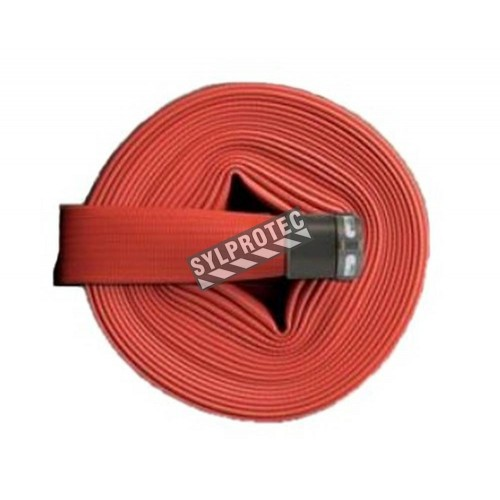 Flashflood 500 industrial double-jacket fire hose made of red synthetic nitrile rubber, 1.5 in x 50 ft, with aluminium coupling.