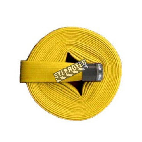 Flashflood 500 industrial double-jacket fire hose, yellow synthetic nitrile rubber, 1.5 in x 50 ft, with aluminium coupling.