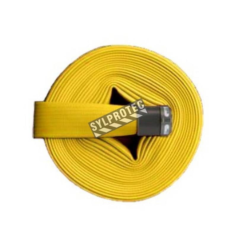 Boyau d'incendie Flashflood 500 à double enveloppe caoutchouc nitrile jaune, 1.5 po x 50 pi, accouplement en aluminium.