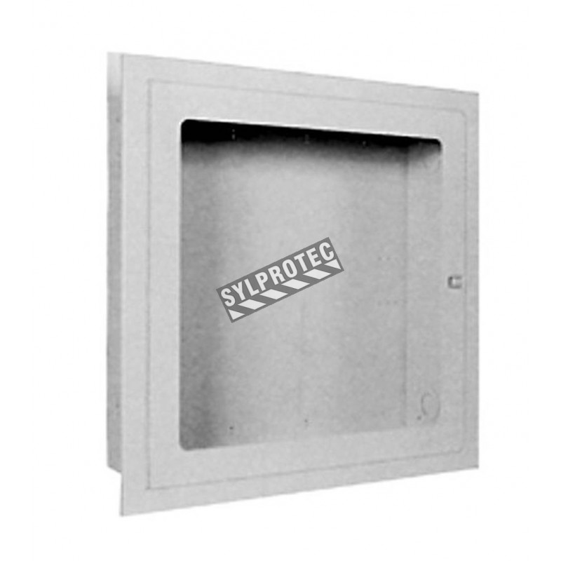 Recessed cabinet for fire hose of 75 to 100 ft and fire extinguisher of 5 or 10 lbs.