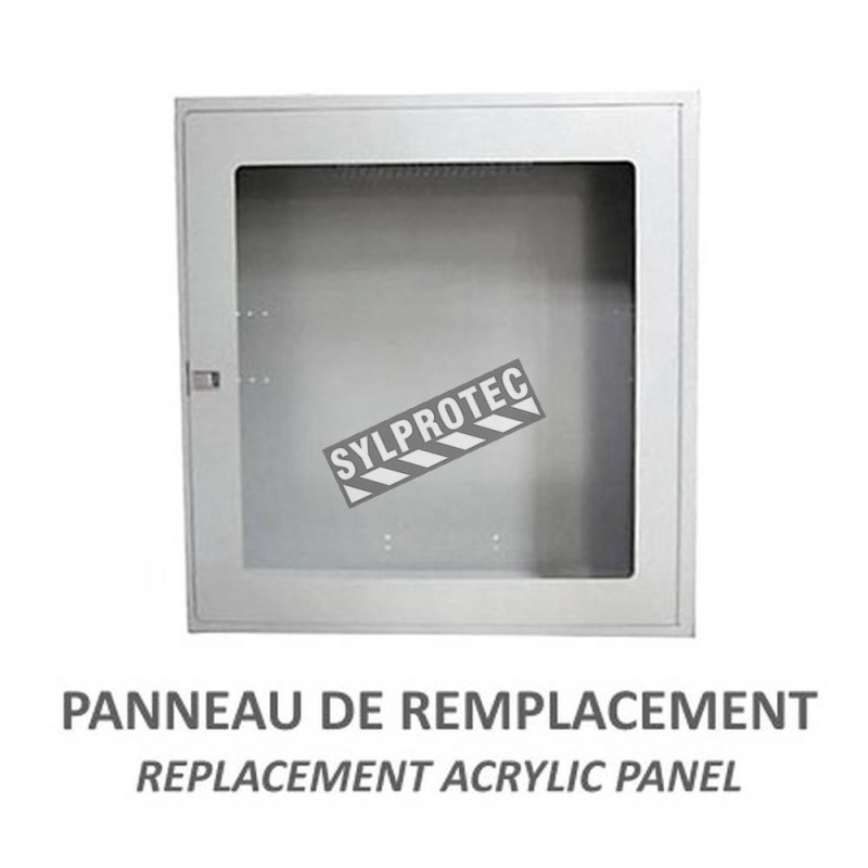 Acrylic replacement panel for surface-mounted fire hose cabinet, 24 inches x 24 inches