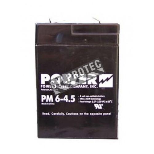 Batterie 6 V 5 Ah 30 W pour unité d'éclairage d'urgence.