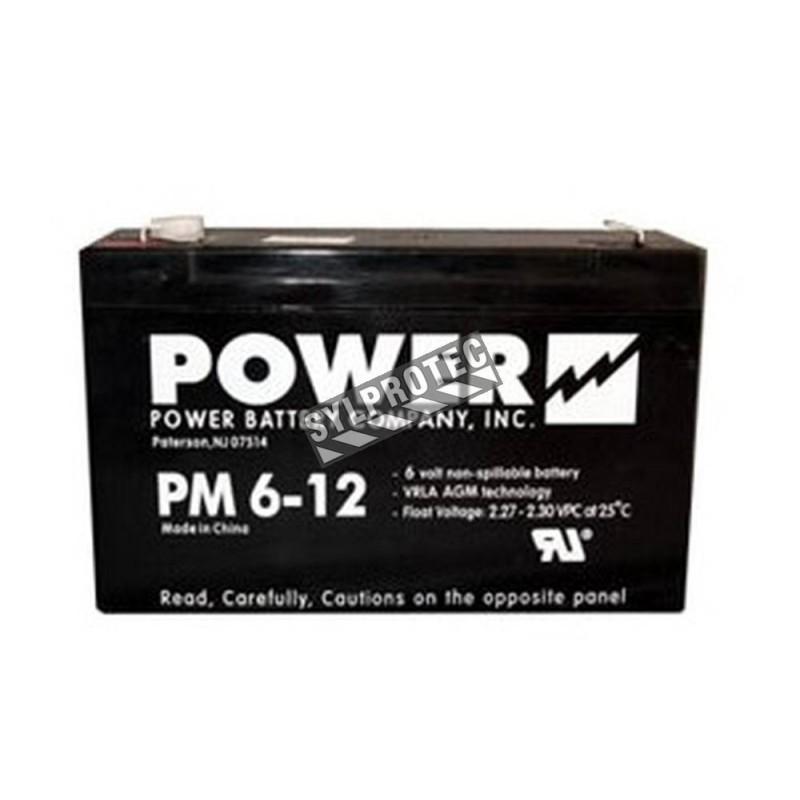 Batterie 6 V 12 Ah 72 W pour unité d'éclairage d'urgence