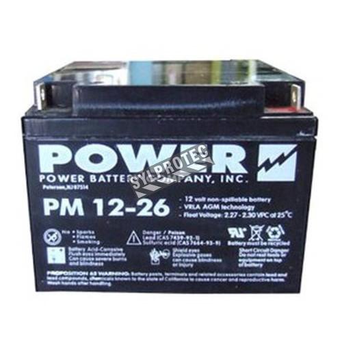 Batterie 12 V 26 Ah 312 W pour unité d'éclairage d'urgence