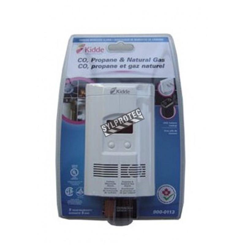 Digital triple gas detector (CO, natural gas, propane gas), 120 V and 9 V.
