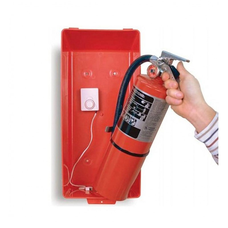 Portable Fire Suppression Equipment : Alarm to reduce theft of portable fire extinguishers