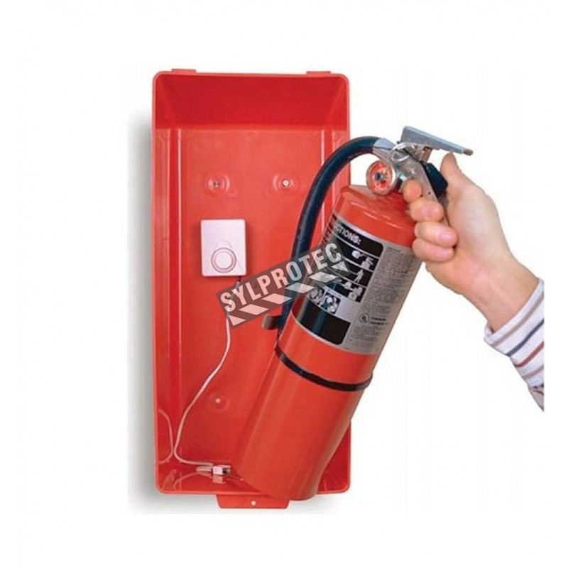 Cabinet alarm for portable fire extinguisher, great for reducing extinguisher theft.