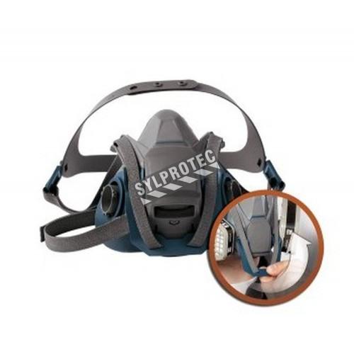 Demi-masque de protection respiratoire Quick Latch de 3M. Homologué NIOSH et CSA Z94.4. Cartouche et filtre non-inclus. Petit.