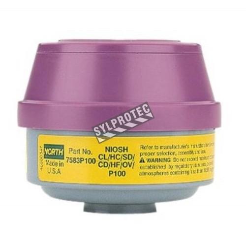 Cartouche combinée contre vapeur organique/gaz acide pour protection respiratoire North série 5400, 7600 & 7700. Vendu par paire