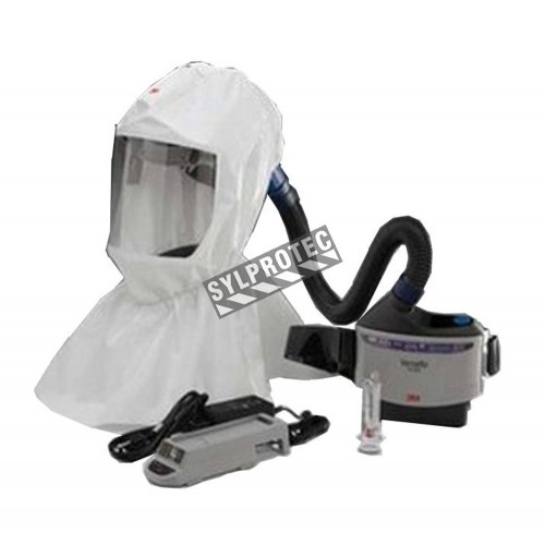 3M complete Versaflo powered air purifying respirator (PAPR) kit for pharmaceutical and health facilities. Hood facepiece.