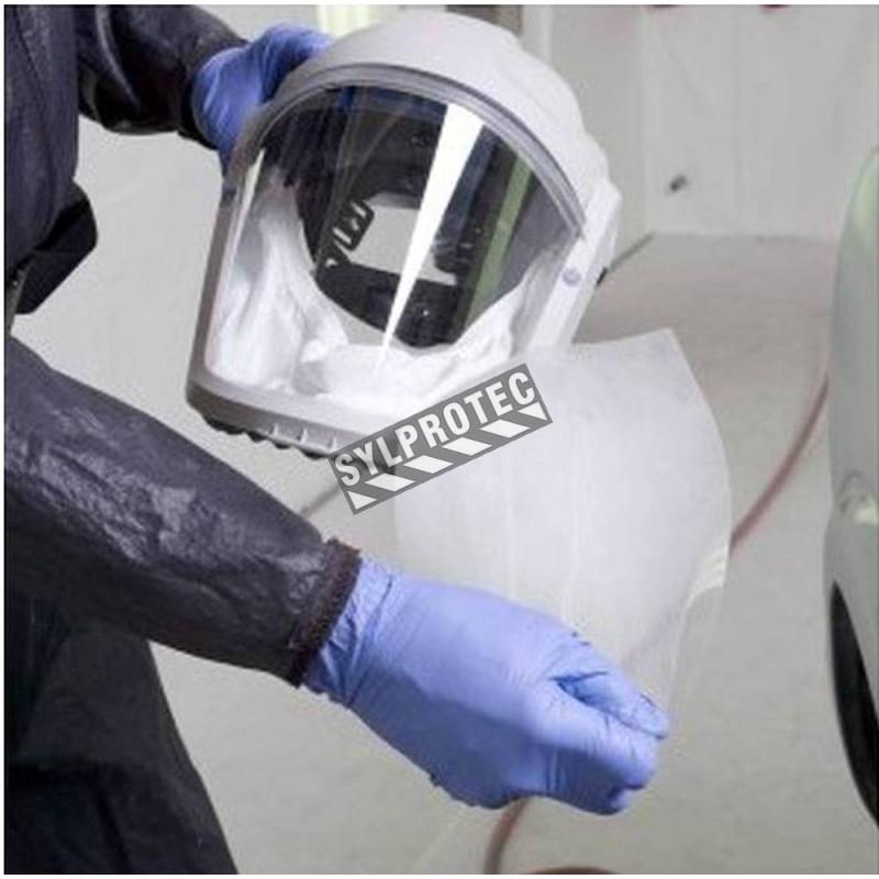 Protège-lentille amovible pour visière RM925 de 3M contre égratignures, débordements liquides ou en suspension. 40 unités/caisse