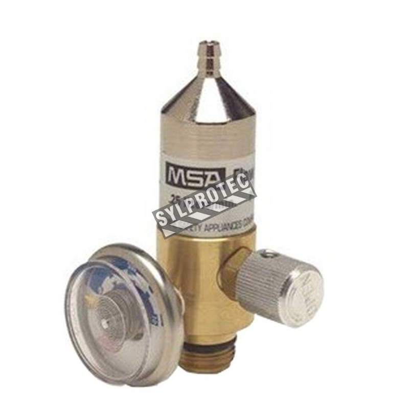 MSA RP gas regulator with 0.25 L/min fixed flow for gas detector's calibration. Provides a constant and accurate flow.
