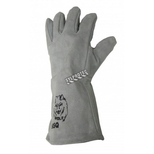 18 in long Endura® side-split cowhide welding glove with level 2 heat resistance. Large one-size-fits-all, sold in pairs.
