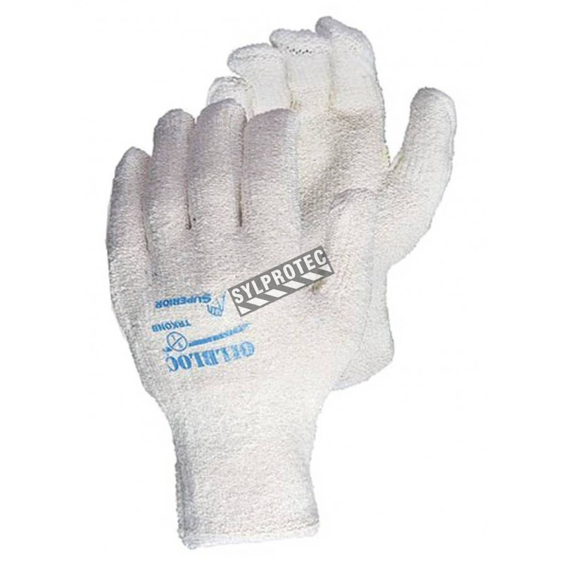 """Cotton terry glove for women with an """"Oil-bloc"""" nitrile lining ANSI heat resistance 3 THT™ design by Superior. Sold by the pair."""