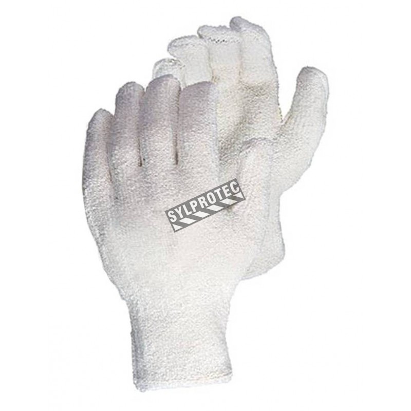 """Cotton terry glove for men with an """"Oil-bloc"""" nitrile lining ANSI heat resistant 3. THT™ design by Superior. Sold by the pair."""