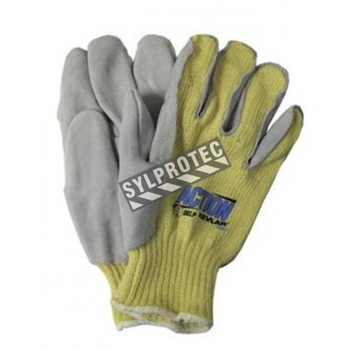 Gants anti-coupure de niveau 2 Action™ en tricot de  Kevlar® & cuir fendu. Taille S (7) à XL (10). Vendu à la paire.