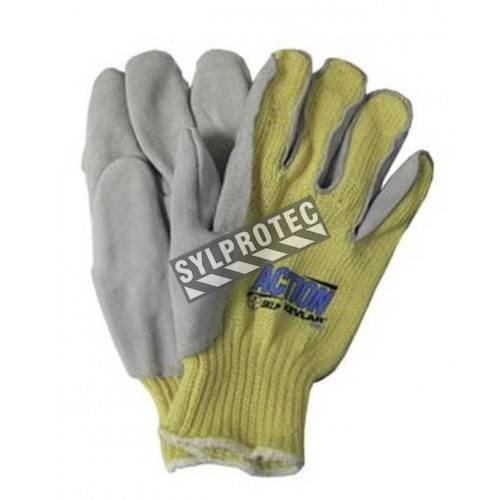 Gants anti-coupure de niveau A5 Action en tricot de  Kevlar et cuir fendu Taille S à XL Vendu à la paire