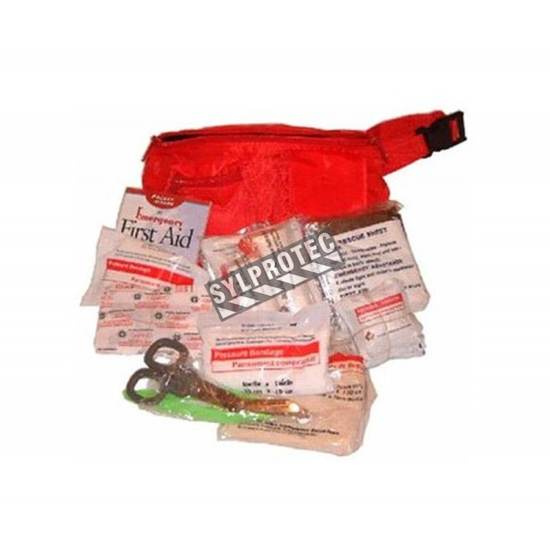 Waist pouch first aid kit for trauma.