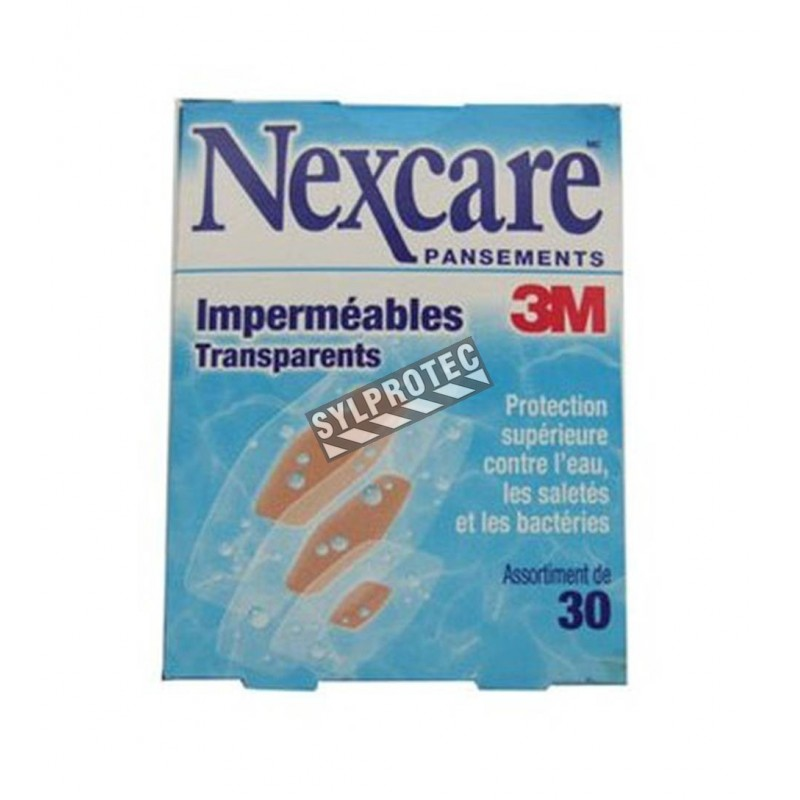 Pansements 3M Nexcare transparents résistants à l'eau, tailles assorties, 30/bte.