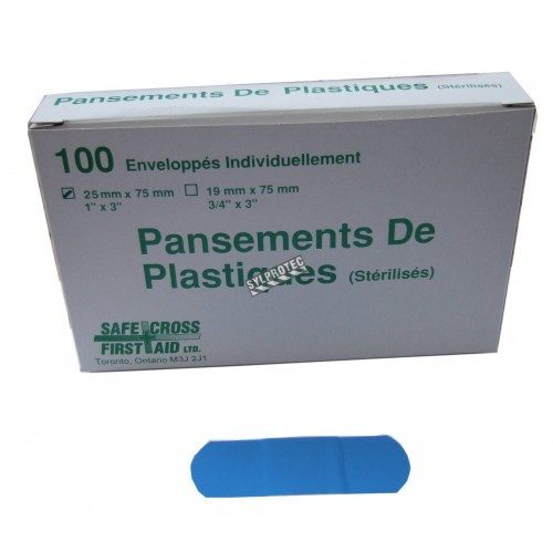 Blue plastic detectable bandages, 2.5 x 7.5 cm (1 x 3 in), 100/box.