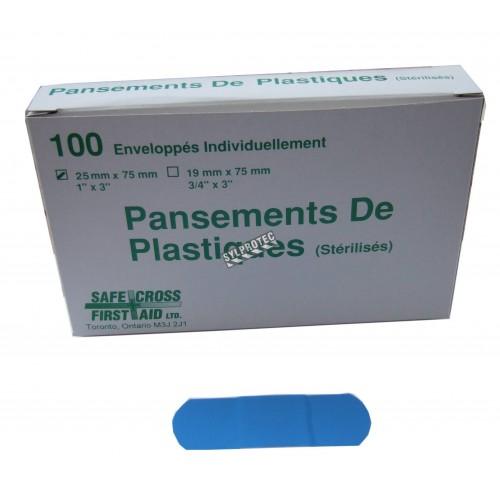 Pansements en plastique bleu détectables, 2.5 x 7.5 cm (1 x 3 po), 100/bte.