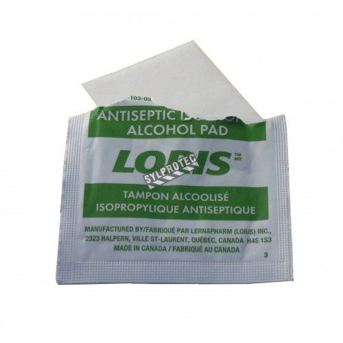 Tampons d'alcool désinfectants, 100 sachets/bte.