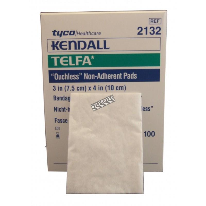 Compresses de gaze stériles non-adhérentes Telfa, 3 x 4 po, 100/bte.