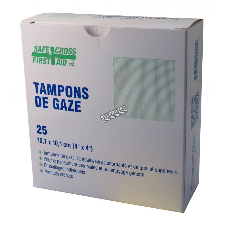 Sterile gauze pads, 4 x 4 in, 25/box.